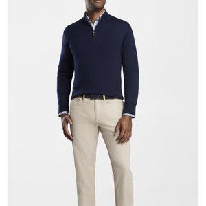 Peter Millar Navy Merino Wool Quarter Zip Pullover